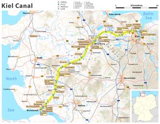 Kiel Canal - Current map of Kiel Canal in Schleswig-Holstein
