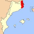 Mapa distribució Discoglossus Pictus Països Catalans.png