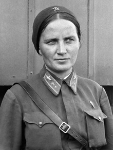 Photograph of Marina Raskova in uniform