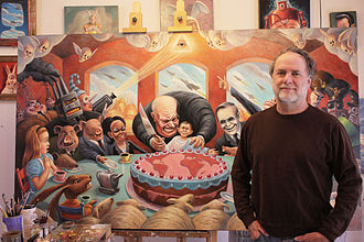 Mark Bryan (artist) - Artist Mark Bryan in his studio in front of Mad Tea Party painting