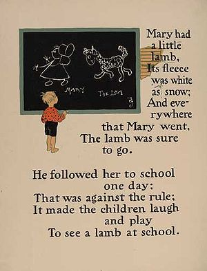 Mary Had a Little Lamb - William Wallace Denslow's illustrations for Mary had a little lamb, from a 1901 edition of Mother Goose