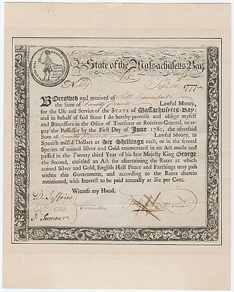History of New England - Certificate of government of Massachusetts Bay acknowledging loan of £20 to state treasury 1777