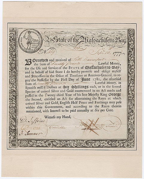 Massachusetts Revolutionary War loan certificate September 1777