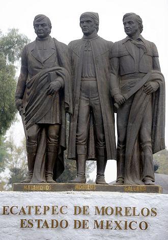 Ecatepec de Morelos - Monument to Mariano Matamoros, José María Morelos and Hermenegildo Galeana in the Parque San Cristóbal Ecatepec.