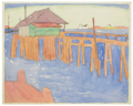 Maud Hunt Squire, Untitled (Pier with green and purple shack), ca. 1915.tif