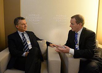 Argentina–Ireland relations - Argentine President Mauricio Macri meeting with Irish Taoiseach Enda Kenny in Davos, Switzerland; January 2016.