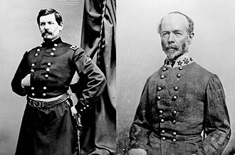Peninsula Campaign - George B. McClellan and Joseph E. Johnston, respective commanders of the Union and Confederate armies in the Peninsula Campaign