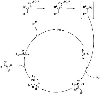 Bamford–Stevens reaction - Image: Mechanism of the Pd catalyzed reaction of N tosylhydrazones with aryl halides