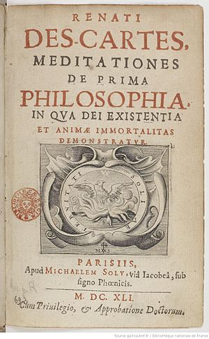 Meditations on First Philosophy - The title page of the Meditations.