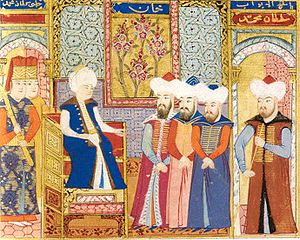Mehmed I - Mehmed I with his dignitaries. Ottoman miniature painting, kept at Istanbul University.