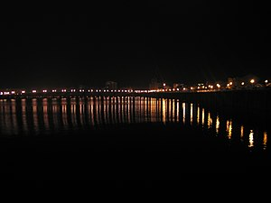 Meizhou - A view of the Mei River in Meizhou at night