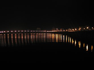 Meizhou - A view of the Mei River in Meizhou at night