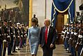 Melania and Donald Trump walk in the middle of a Joint Armed Forces Honor Guard cordon, Jan. 20, 2017.jpg