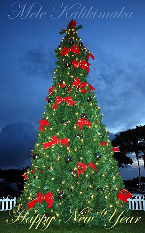 English: Lahaina Cannery Mall Christmas tree d...