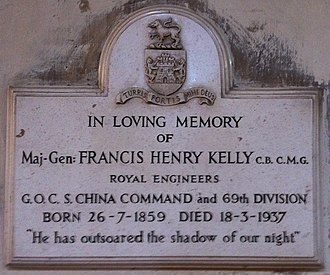 Francis Kelly (British Army officer) - Memorial in Rochester Cathedral