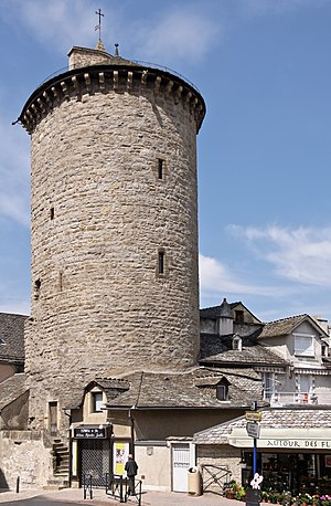 Fortified tower - The Tour des Pénitents in Mende, France, a horseshoe-shaped tower remaining from the former medieval city walls.