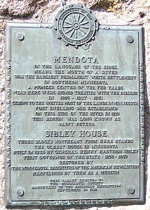 Mendota, Minnesota - Image: Mendota Plaque