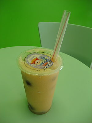 Mango bubble tea. At bubble tea shop in Mereau...