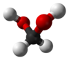 Ball and stick model of the methanediol