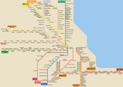 Schéma des voies de Metra, ainsi que la Rive-Sud Ligne.  Ce schéma n'est pas à l'échelle.