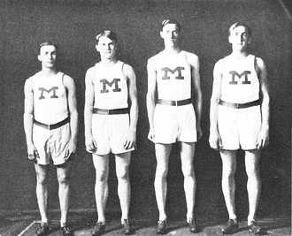 Harry Coe - Michigan's 1907 four-mile relay team (Coe is third from left)