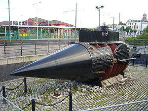 Resurgam - A replica of one of the two Resurgam submarines that were built in 1878-79, was built in 1997 and is on display close to the Woodside terminal of the Mersey Ferry in Birkenhead, Wirral