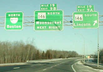 Exit numbers in the United States - Image: Mile tabs