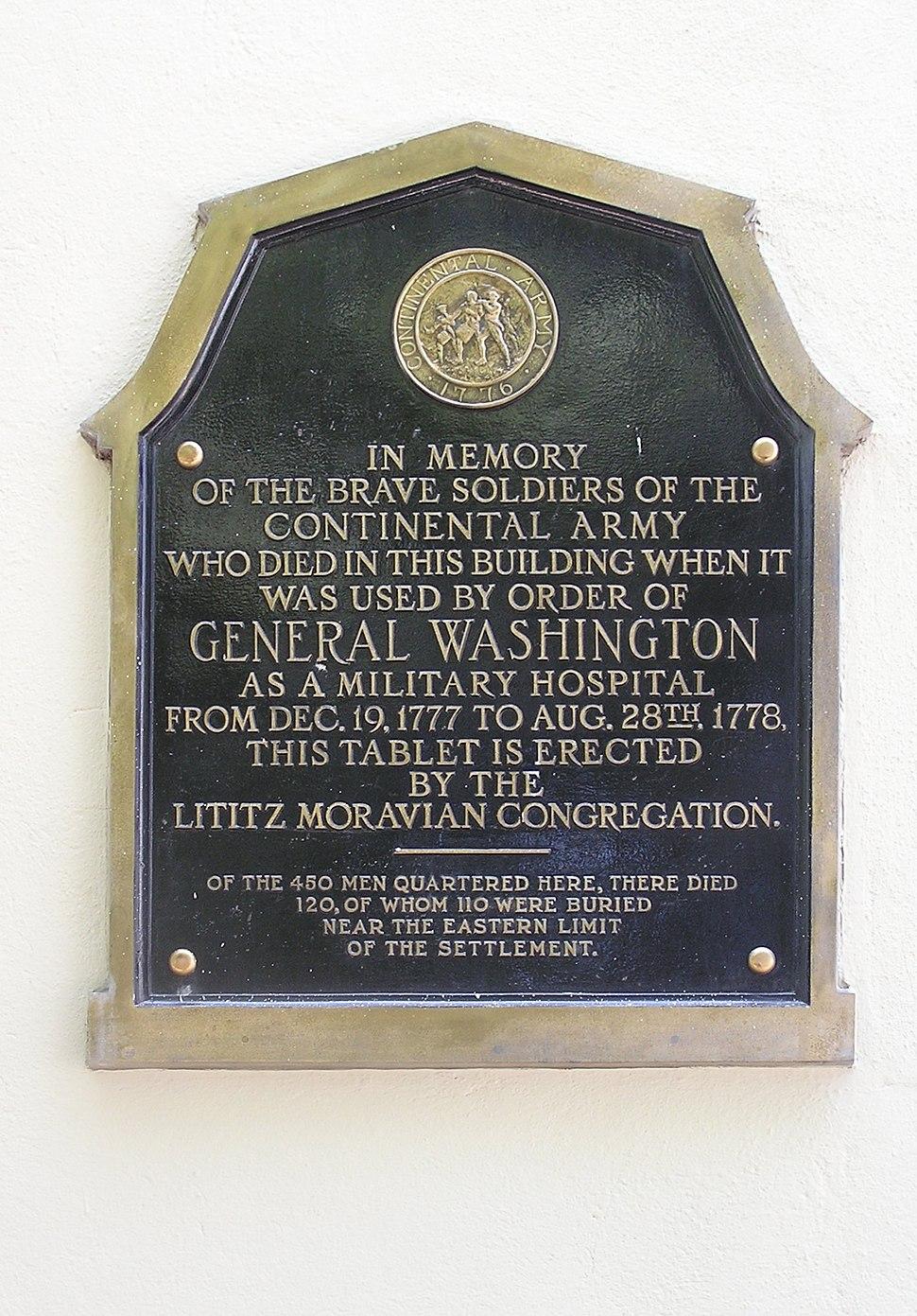 Military Hospital Lititz 1778