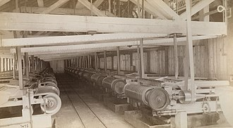 Vanning - Vanner room, Treadwell gold mine, 1887. These vanners served a 120 stamp mill battery. Note railroad tracks in aisle.