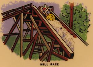 Mill Race (log flume) - Park souvenir with an illustration of Mill Race