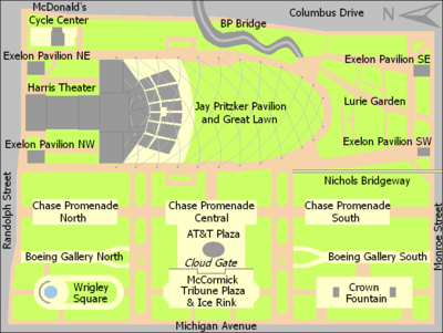 Rectangular map of a park about 1.5 times as wide as it is tall. The top half is dominated by the Pritzker Pavilion and Great Lawn. The lower half is divided into three roughly equal sections: (left to right) Wrigley Square, McCormick Tribune Plaza, and Crown Fountain. North is to the left.