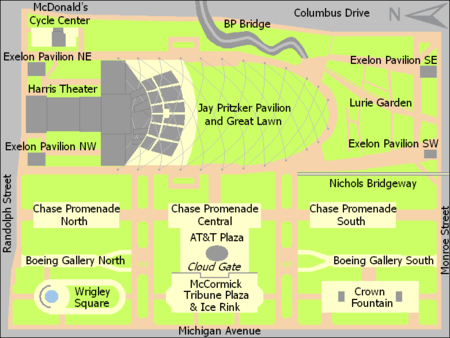 Rectangular map of a park about 1.5 times as wide as it is tall. The