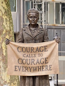 The statue of Millicent Fawcett in Parliament Square.