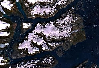 Milne Land - Milne Land seen from space