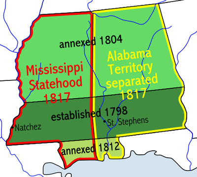 Map showing the formation of the Mississippi and Alabama territories Mississippiterritory.PNG