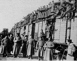 Bulgarian Land Forces - Mobilised Bulgarian troops departing for the front, 1915