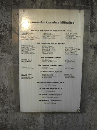 Battle of Moerbrugge - Moerbrugge - Names of Canadian soldiers