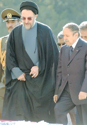 Arab League–Iran relations - Mohammad Khatami welcoming Abdelaziz Bouteflika,  October 19, 2003, Tehran.