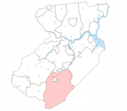 Monroe Township highlighted in Middlesex County. Inset: Location of Middlesex County highlighted in the State of New Jersey.