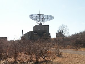 AN/FPS-35 - The AN-FPS-35 Radar at Camp Hero State Park in Montauk, New York. The radar rises well above its surrounding trees.