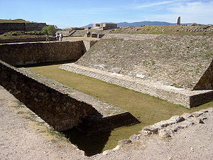 Ancient ball court of Monte Alban, in the Oaxa...