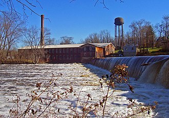 Montgomery Worsted Mills - The mills and its dam from across the Wallkill River