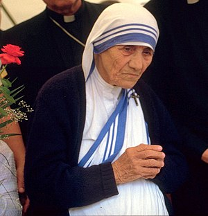 Mother Teresa of Calcutta; 1986 at a public pr...