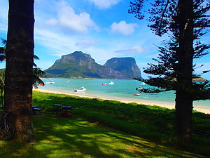 Lord Howe Island Marine Park - Mount Lidgebird and Mount Gower, twin Mountains to the south of Lord Howe Island