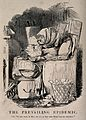 Mr Punch wrapped up in blankets in front of the fire, eating Wellcome V0011588.jpg