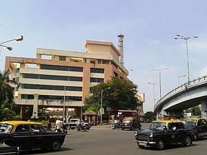 Byculla - The Mumbai Fire Brigade Headquarters and the west arm of the 'Y' Bridge