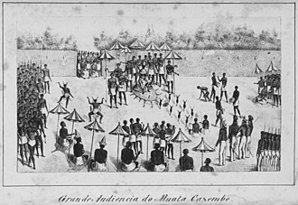 Drawing of the ruler of Lunda, Mwata Kazembe, receiving Portuguese in the royal courtyard in the 1800s Mwata.jpg