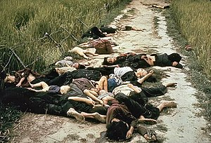 My Lai Massacre - Photo taken by United States Army photographer Ronald L. Haeberle on the 16th of March, 1968 in the aftermath of the My Lai massacre showing mostly women and children dead on a road.