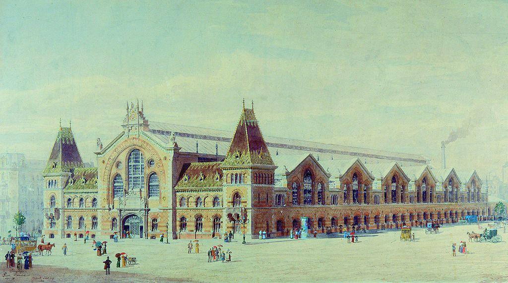 La Grande Halle de Budapest en Hongrie en 1897 sur un dessin de Róbert Nádler.