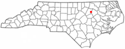 Location of Rocky Mount shown within North Carolina